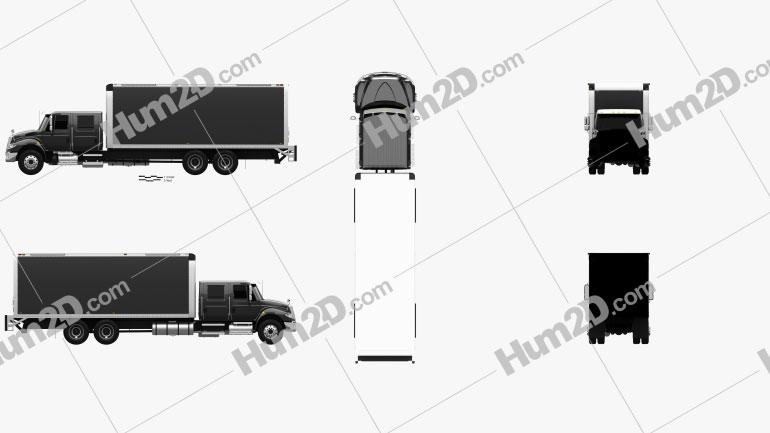 International Durastar Crew Cab Box Truck 2017 clipart