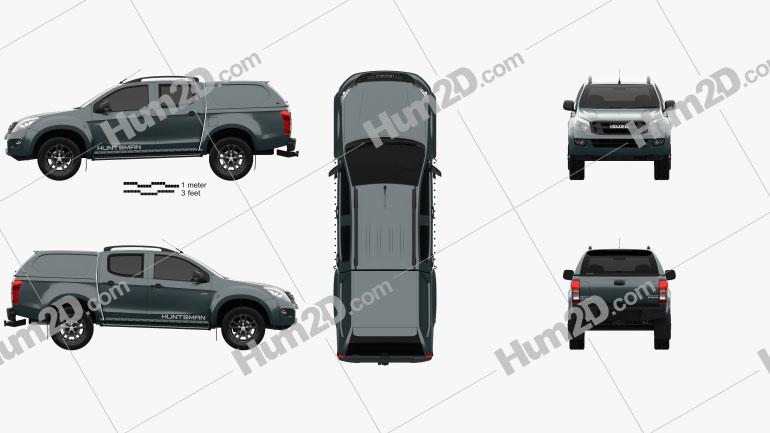 Isuzu D-Max Double Cab Huntsman 2014 Clipart Image