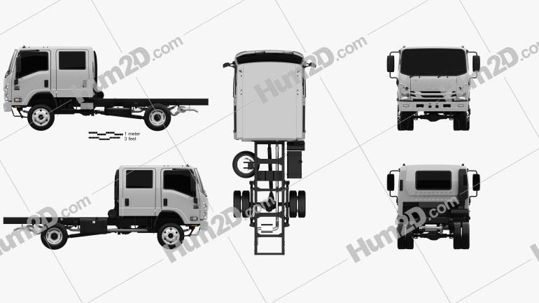 Isuzu NPS 300 Crew Cab Fahrgestell LKW 2015 clipart