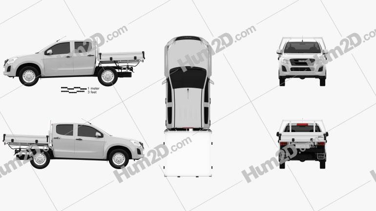 Isuzu D-Max Double Cab Alloy Tray SX 2017 car clipart