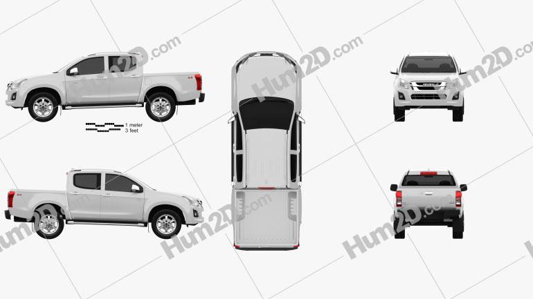Isuzu D-Max Double Cab Ute LS 2017 car clipart