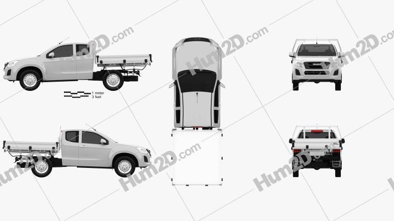 Isuzu D-Max Space Cab Alloy Tray SX 2017 car clipart
