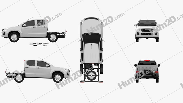 Isuzu D-Max Double Cab Chassis SX 2017 car clipart