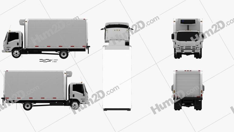 Isuzu NRR Refrigerator Truck 2010 Clipart Bild