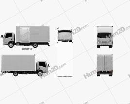 Isuzu Elf Box Truck 2017 Clipart