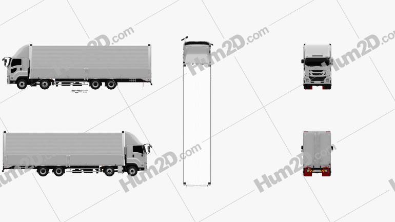 Isuzu Giga Box Truck 4-axle 2017 clipart
