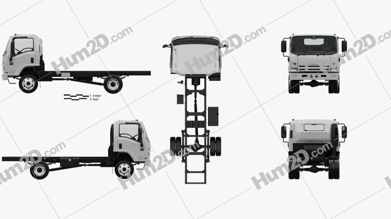 Isuzu NPS 300 Einzelkabine Fahrgestell LKW mit HD Innenraum 2015 clipart