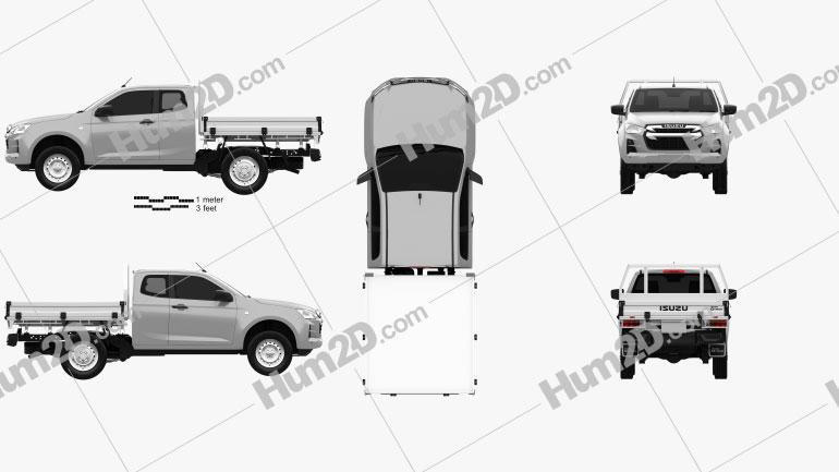 Isuzu D-Max Space Cab Alloy Tray SX 2020 car clipart