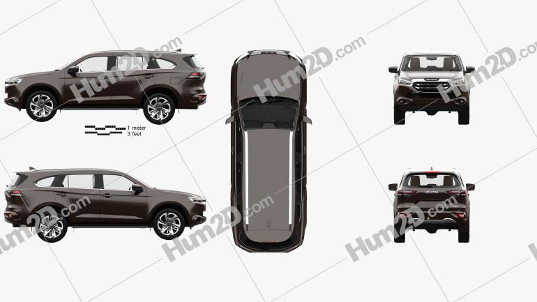 Isuzu MU-X with HQ interior and engine 2020 car clipart