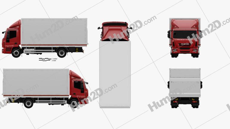 Iveco EuroCargo Box Truck 2013 Clipart Image
