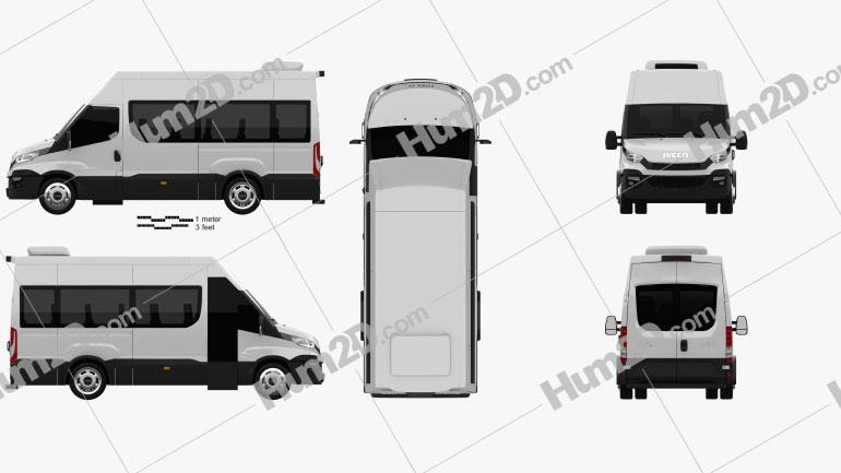 Iveco Daily Minibus 2014 Clipart Image