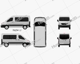 JAC Sunray Passenger Van SWB SR 2014 clipart