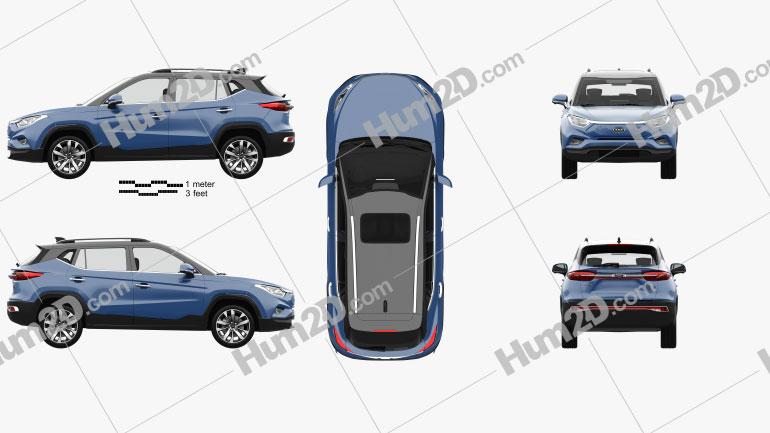 JAC iEVS4 with HQ interior 2019 car clipart