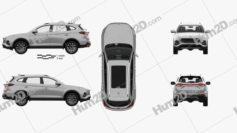 JAC Sei7 with HQ interior 2020 car clipart