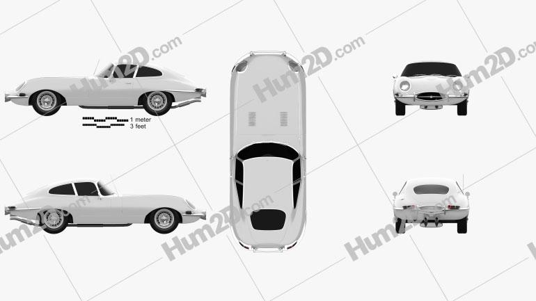 Jaguar E-type coupe 1961 Clipart Image