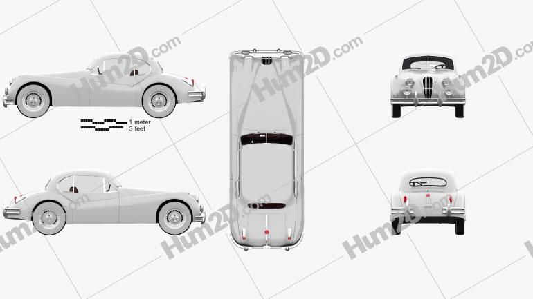 Jaguar XK 140 coupe with HQ interior 1954 car clipart
