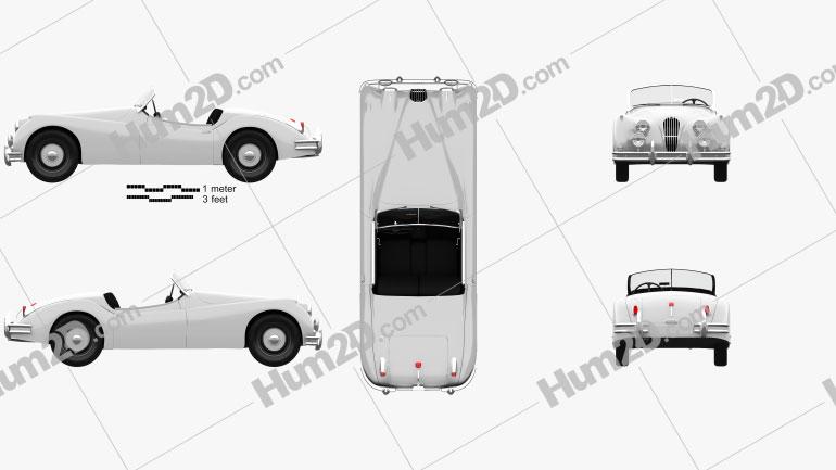 Jaguar XK 140 roadster with HQ interior 1954 car clipart