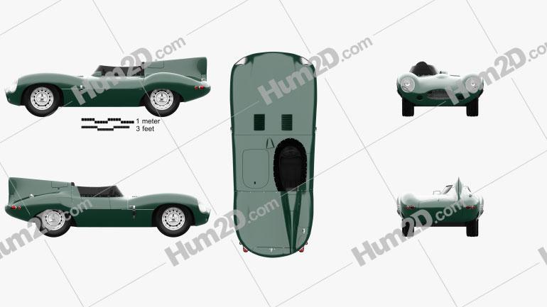 Jaguar D-Type 1955 Simple Race Car car clipart