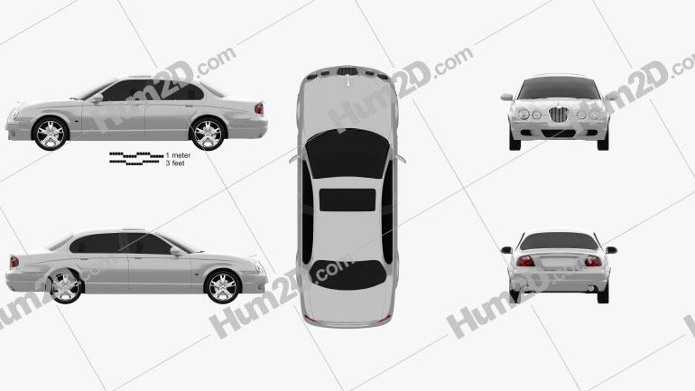 Jaguar S-Type 2008 Clipart Image