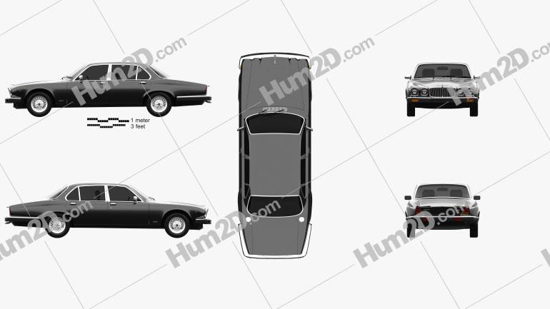 Jaguar XJ (Series 3) 1979 Clipart Image