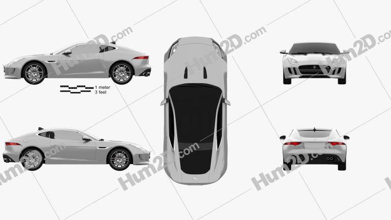 Jaguar F-Type R coupe 2014 car clipart