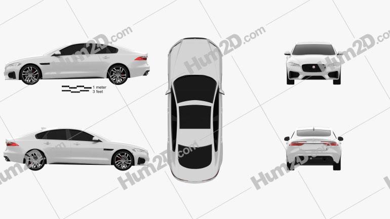 Jaguar XF S 2016 Clipart Image