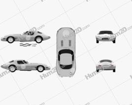 Jaguar E-type Lightweight 1963 car clipart