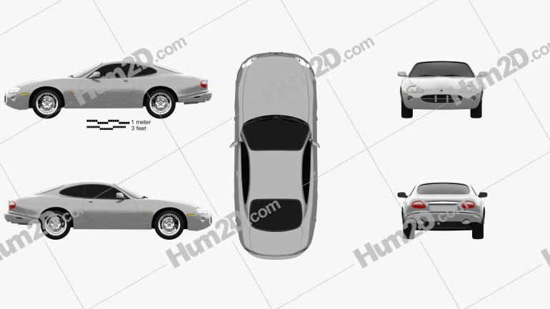 Jaguar XK 8 coupe 1996 Clipart Image