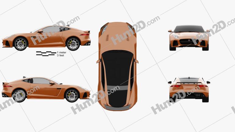 Jaguar F-Type SVR Coupe 2016 Clipart Image