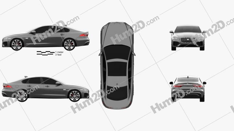 Jaguar XF R-Dynamic 2020 Clipart Image