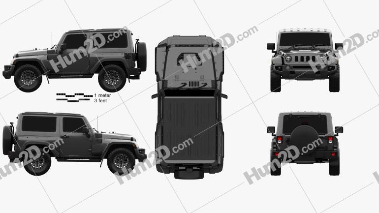 Jeep Wrangler Project Kahn JC300 Chelsea Black Hawk 2-door 2016 Clipart Image