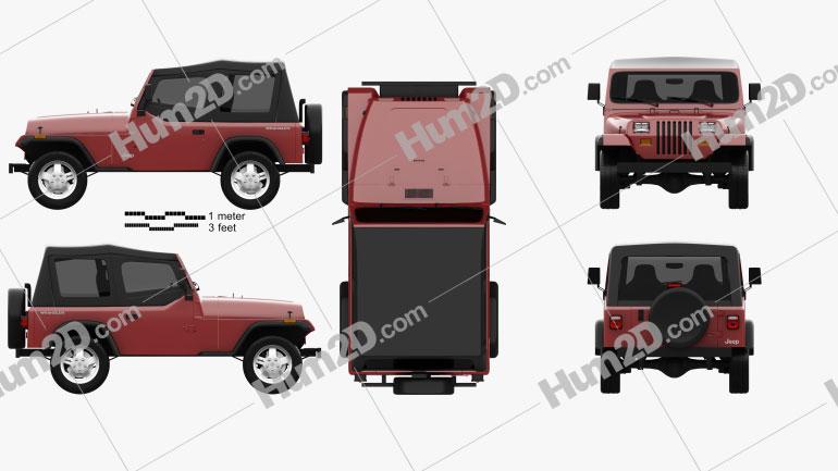 Jeep Wrangler YJ 1987 Cute car clipart