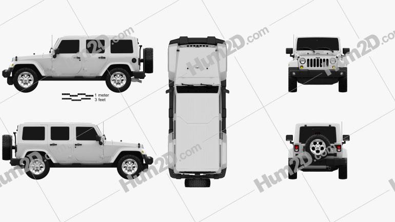 Jeep Wrangler Unlimited Sahara 2012 Black and White Safari Clipart Image