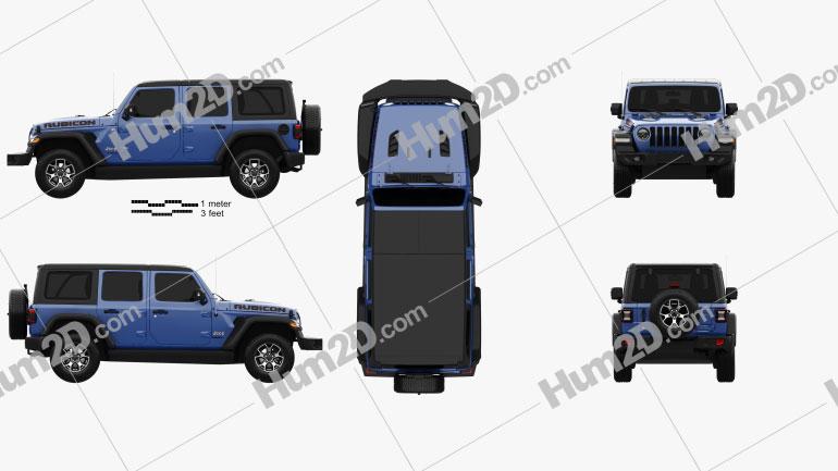 Jeep Wrangler Unlimited Rubicon 4-door 2018 Clipart Image
