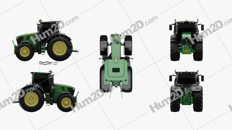 John Deere 6250R 2016 Tractor clipart