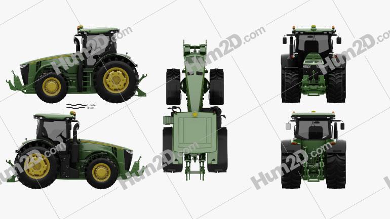 John Deere 8360R Tractor 2012 Clipart Image