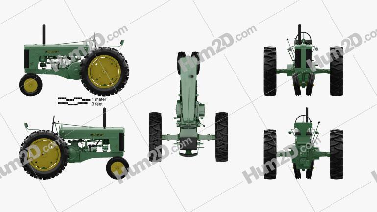 John Deere 70 1953 Tractor clipart