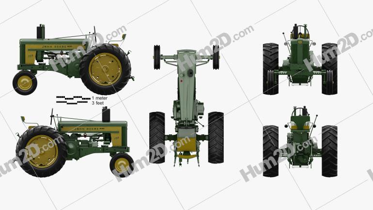 John Deere 720 1958 Tractor clipart