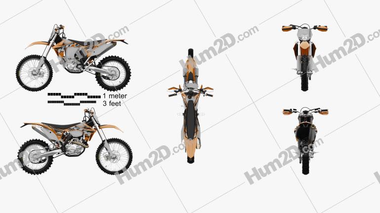 KTM EXC 450 2014 Clipart Image