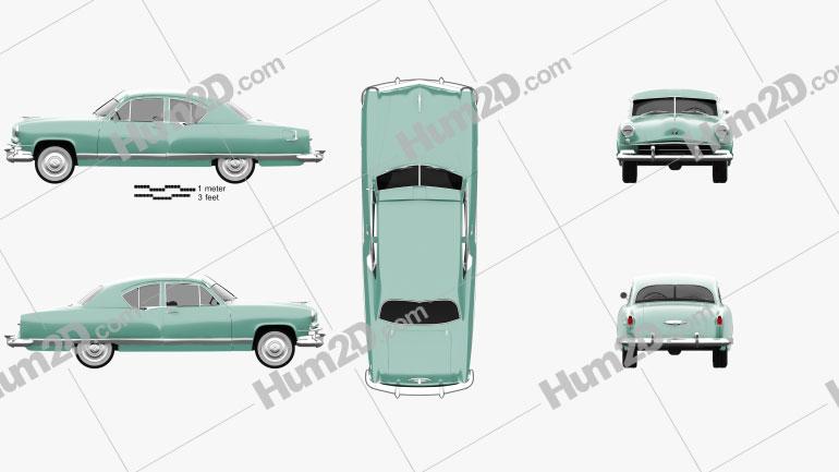 Kaiser DeLuxe 2-door sedan 1951 Clipart Image