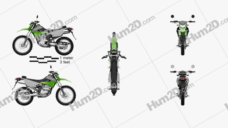 Kawasaki KLX250 2014 Clipart Image