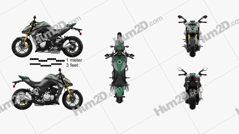Kawasaki Z1000 2014 Clipart Image