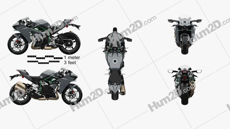 Kawasaki Ninja H2 2015 Clipart Image