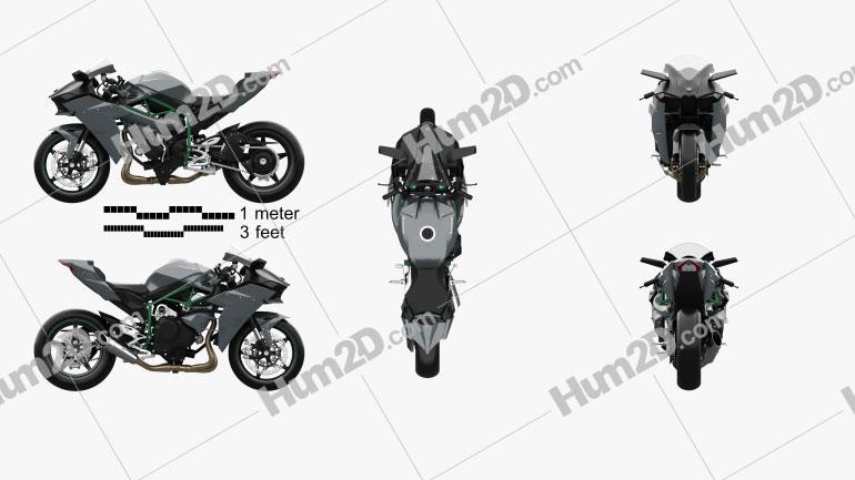 Kawasaki Ninja H2 R 2015 Clipart Image