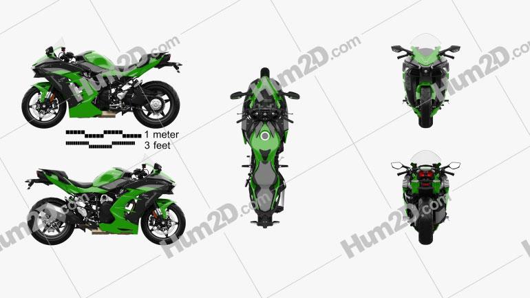 Kawasaki Ninja H2 SX 2018 Clipart Image