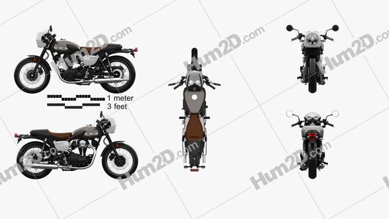 Kawasaki W800 Cafe 2019 Motorcycle clipart