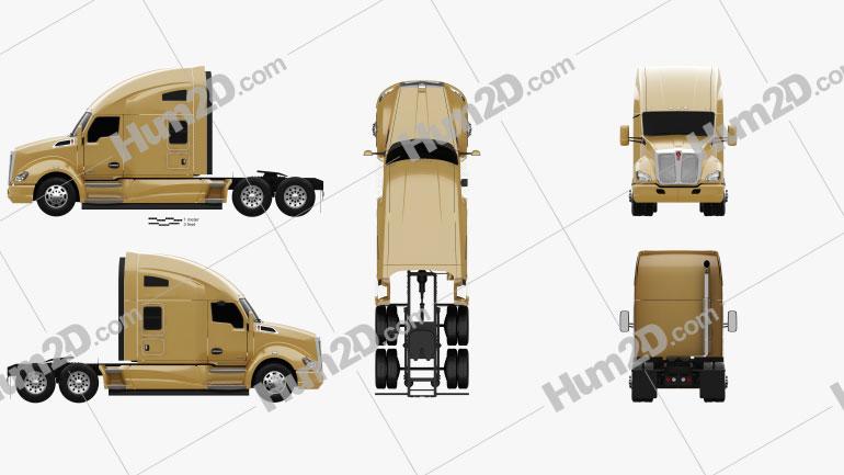 Kenworth T680 Tractor Truck 3-axle 2012 clipart
