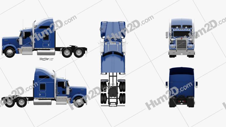Kenworth W900L Tractor Truck 2005 clipart
