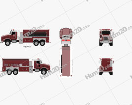 Kenworth T800 Fire Truck 3-axle 2005 clipart