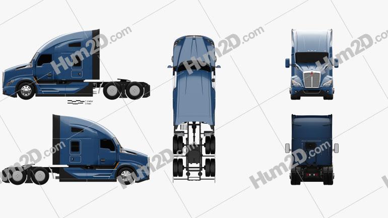 Kenworth T680 Sleeper Cab Tractor Truck 2021 clipart
